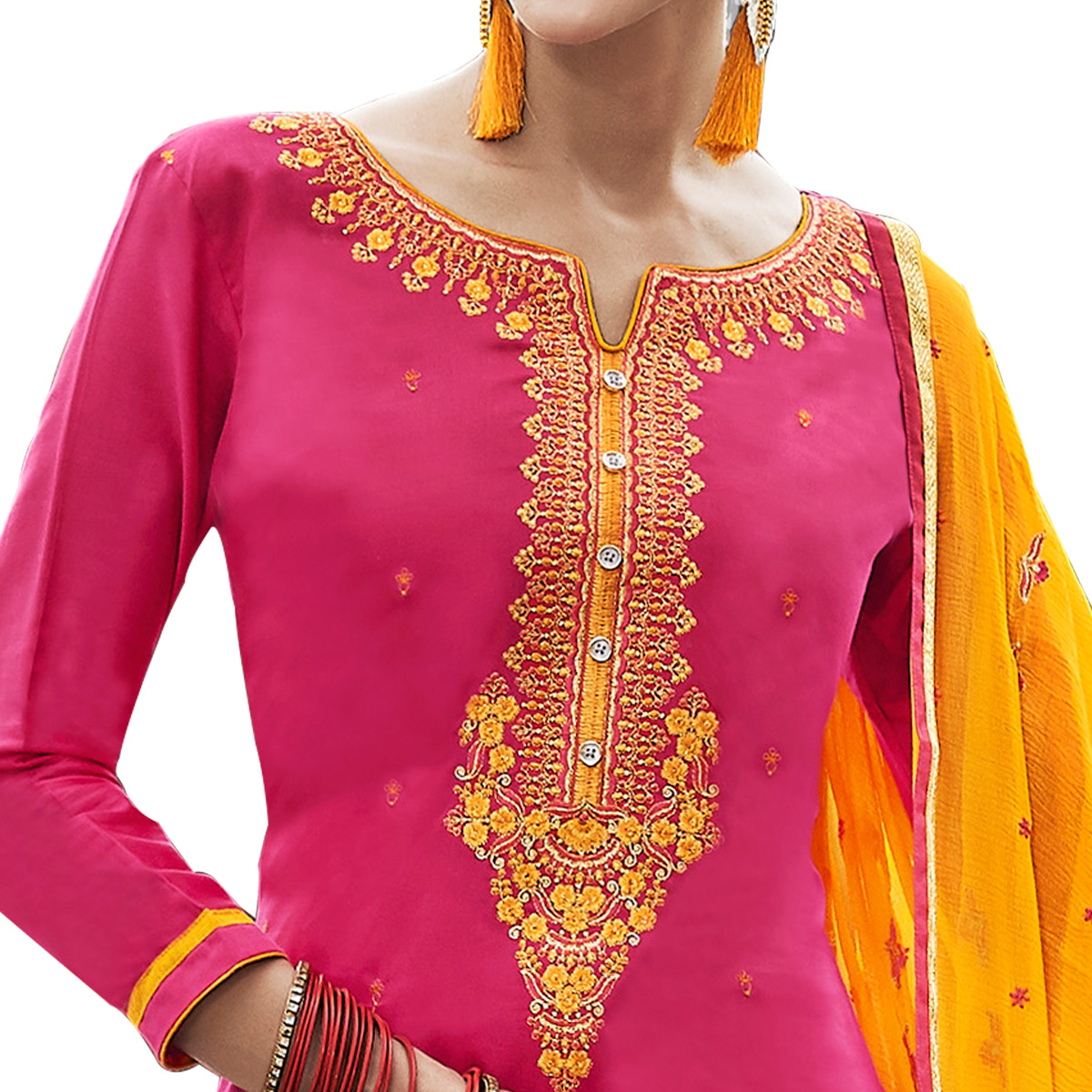 Elegant Pink Colored Party Wear Pure Cotton Salwar Suit