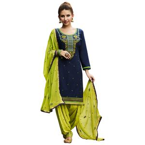 Blooming Blue Colored Party Wear Pure Cotton Salwar Suit