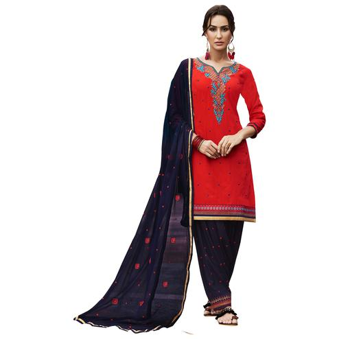 Magical Red Colored Party Wear Pure Cotton Salwar Suit