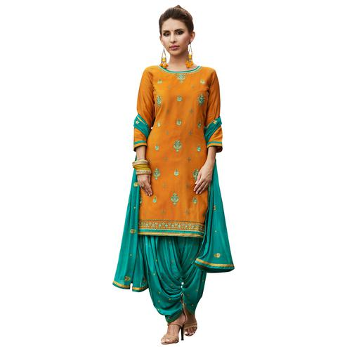 Charming Orange Colored Party Wear Pure Cotton Salwar Suit