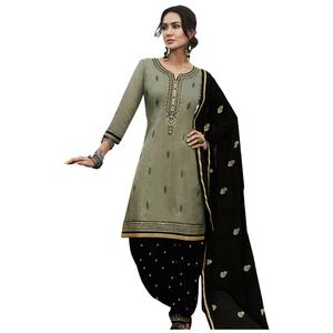 Ravishing Grey Colored Party Wear Pure Cotton Salwar Suit
