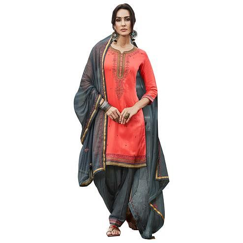 Enchanted Orange Colored Party Wear Pure Cotton Salwar Suit