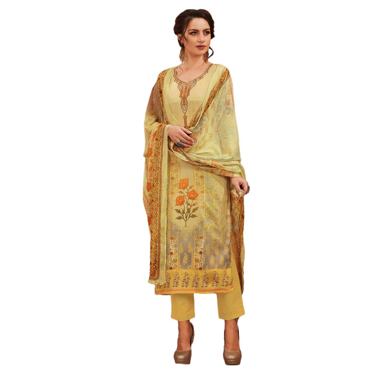 Stylish Light Yellow Colored Partywear Embroidered-Printed Satin Suit