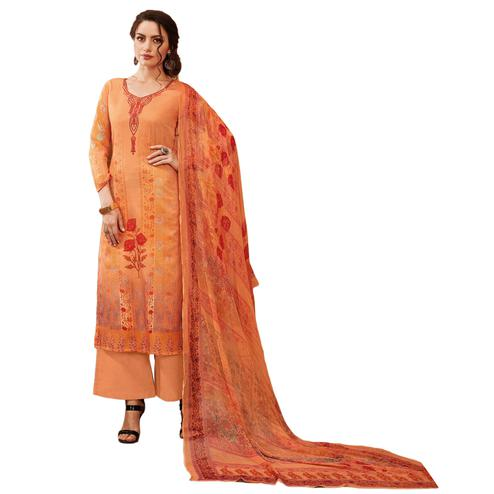 Groovy Orange Colored Partywear Embroidered-Printed Satin Suit