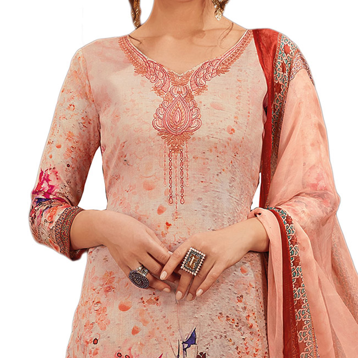 Pretty Baby Pink Colored Partywear Embroidered-Printed Satin Suit