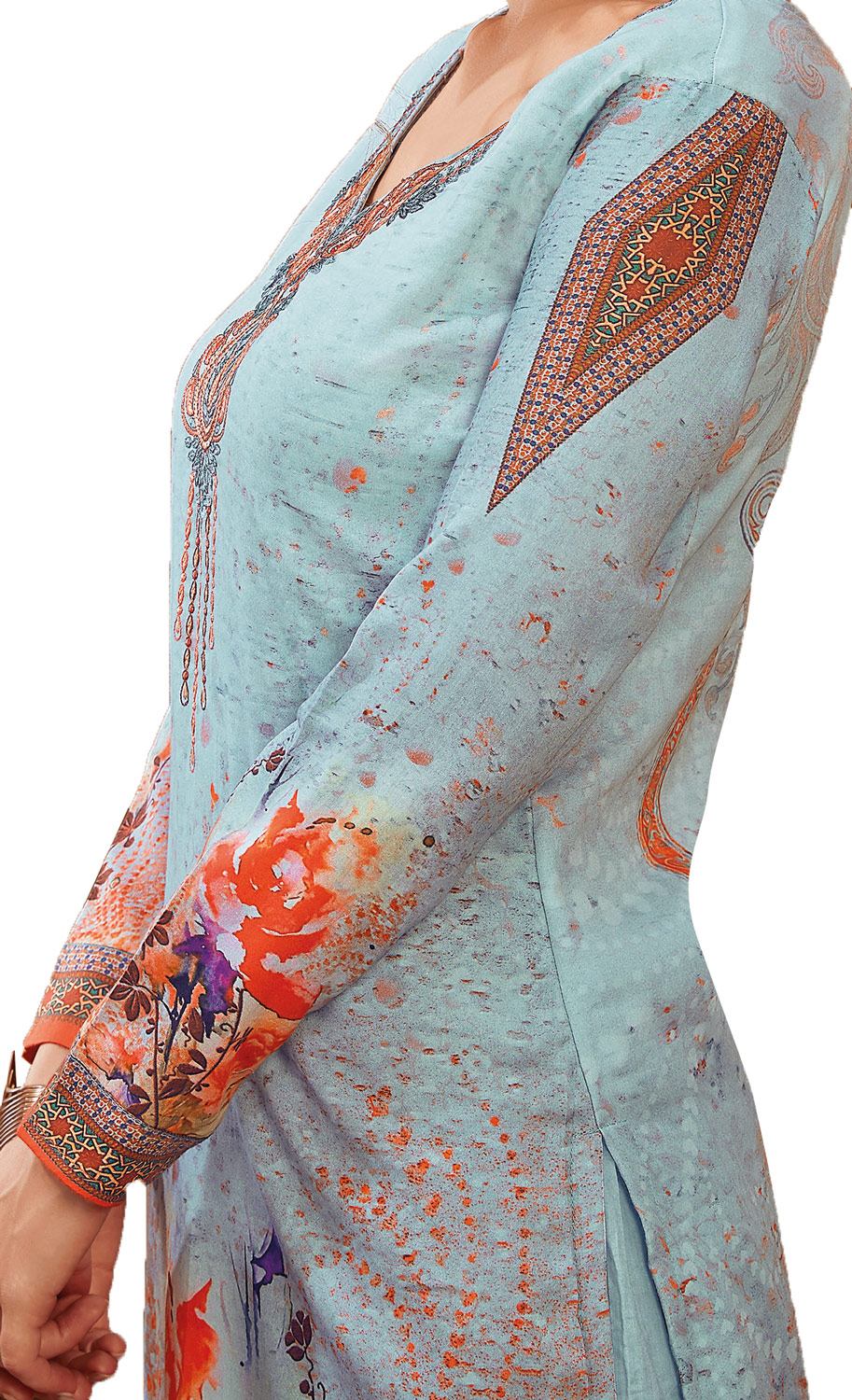 Lovely Light Blue Colored Partywear Embroidered-Printed Satin Suit
