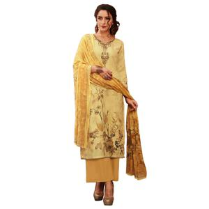 Flaunt Light Yellow Colored Partywear Embroidered-Printed Satin Suit