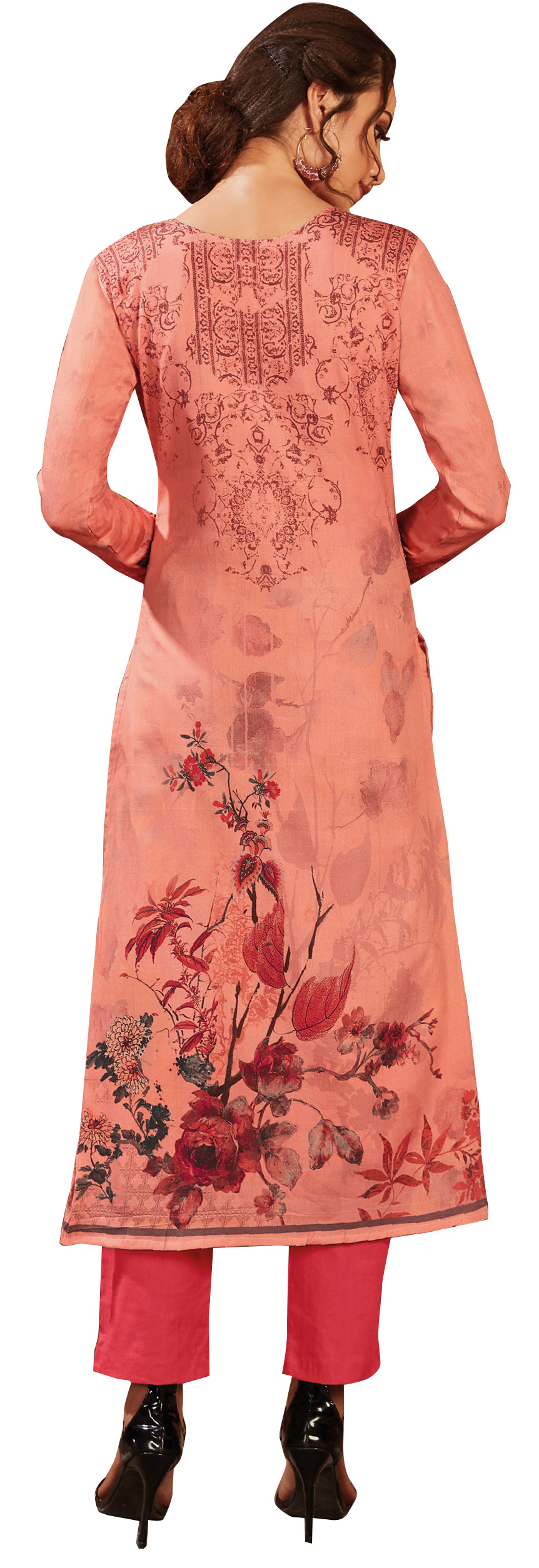 Impressive Pink Colored Partywear Embroidered-Printed Satin Suit