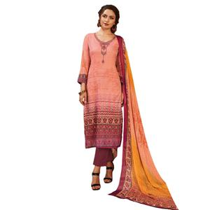 Attractive Light Pink Colored Partywear Embroidered-Printed Satin Suit