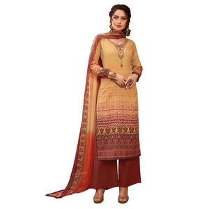 Pleasant Beige Colored Partywear Embroidered-Printed Satin Suit