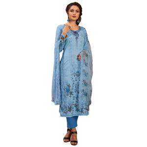 Jazzy Blue Colored Partywear Embroidered-Printed Satin Suit