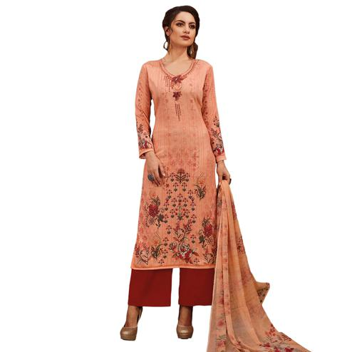 Perfect Peach Colored Partywear Embroidered-Printed Satin Suit