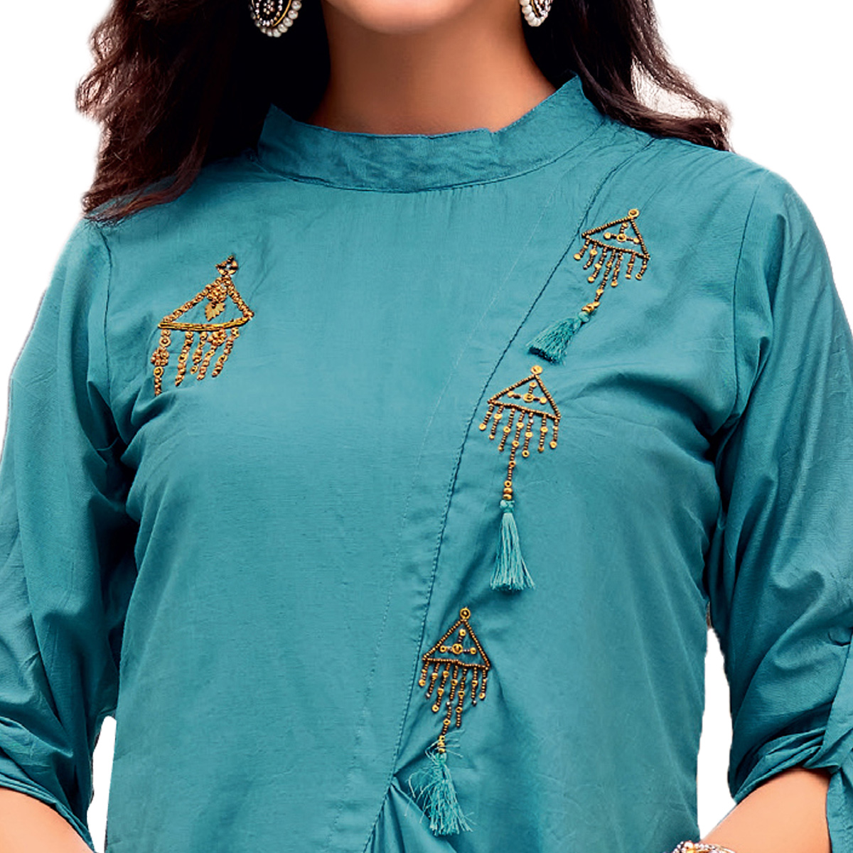Blissful Blue Colored Party Wear Designer Embroidered Silk Kurti