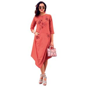 Glamorous Peach Colored Party Wear Designer Embroidered Silk Kurti