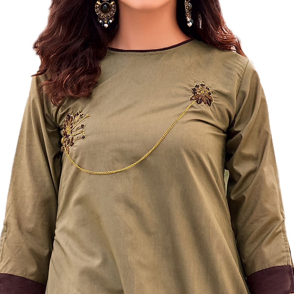 Ravishing Olive Green Colored Party Wear Designer Embroidered Silk Kurti
