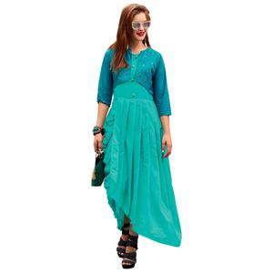 Gorgeous Turquoise Blue Colored Party Wear Designer Embroidered Silk Kurti