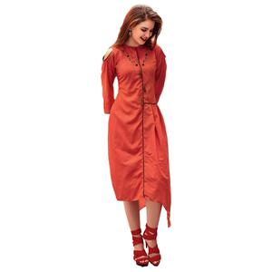 Radiant Orange Colored Party Wear Designer Embroidered Silk Kurti