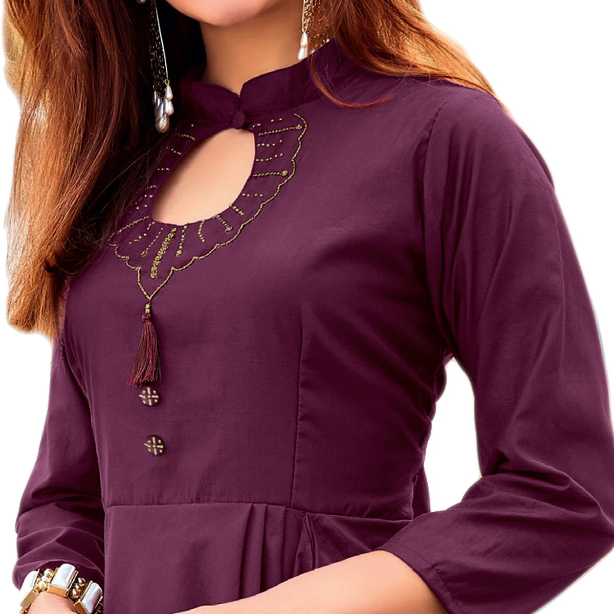 Vivid Wine Colored Party Wear Designer Embroidered Silk Kurti