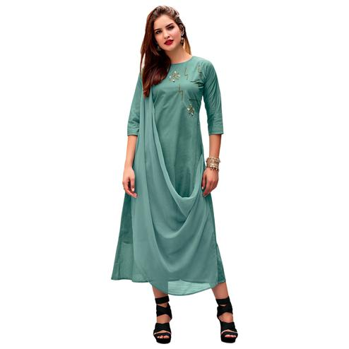 Glorious Green Colored Party Wear Designer Embroidered Silk Kurti