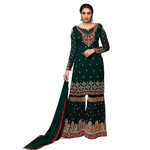 Hypnotic Bottle Green Colored Partywear Embroidered Georgette Palazzo Suit