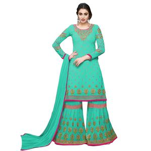 Gorgeous Rama Green Colored Partywear Embroidered Georgette Palazzo Suit