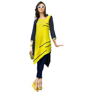 Stylish Yellow-Navy Blue Colored Casual Printed Rayon Kurti