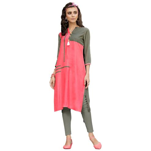 Pretty Pink-Olive Green  Colored Casual Printed Rayon Kurti