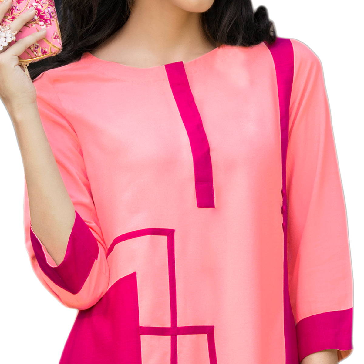 Marvellous Pink Colored Casual Printed Rayon Kurti