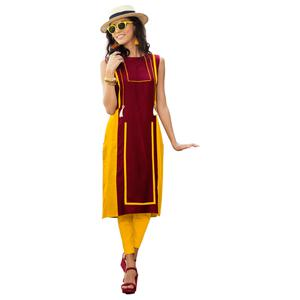 Gorgeous Yellow-Red Colored Casual Printed Rayon Kurti
