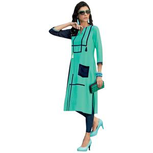 Vivid Turquoise Blue Colored Casual Printed Rayon Kurti
