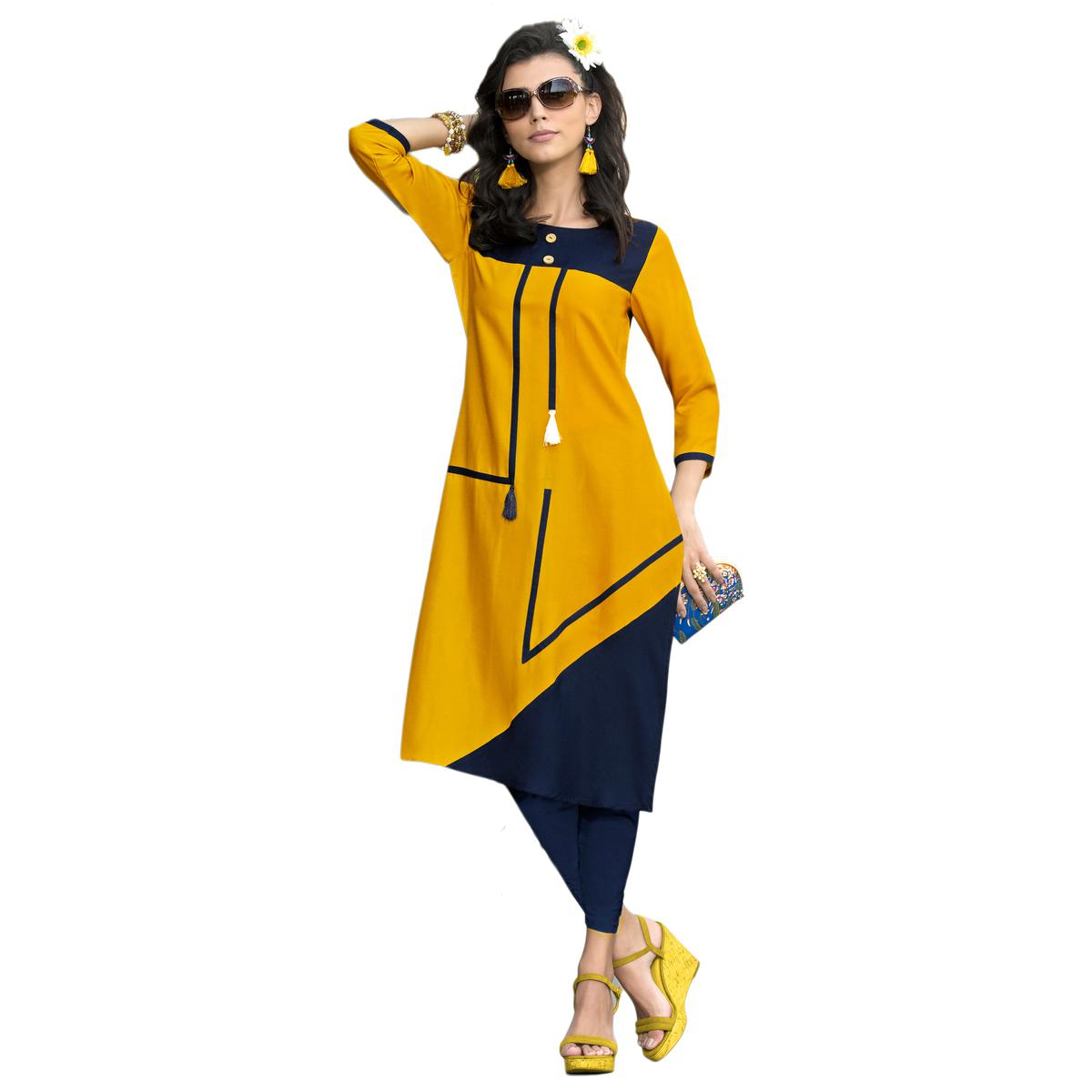 Chic Navy Blue-Yellow Colored Casual Printed Rayon Kurti