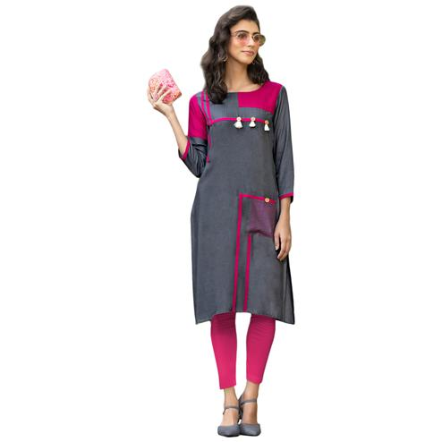 Radiant Grey-Pink Colored Casual Printed Rayon Kurti
