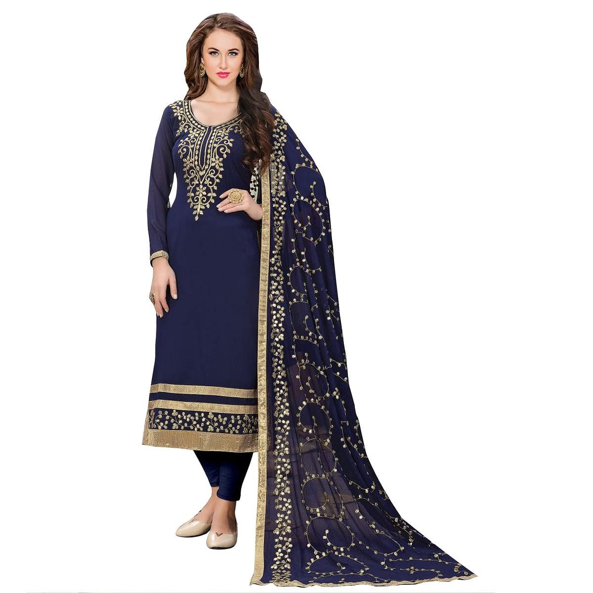 Attractive Navy Blue Colored Partywear Embroidered Georgette Suit
