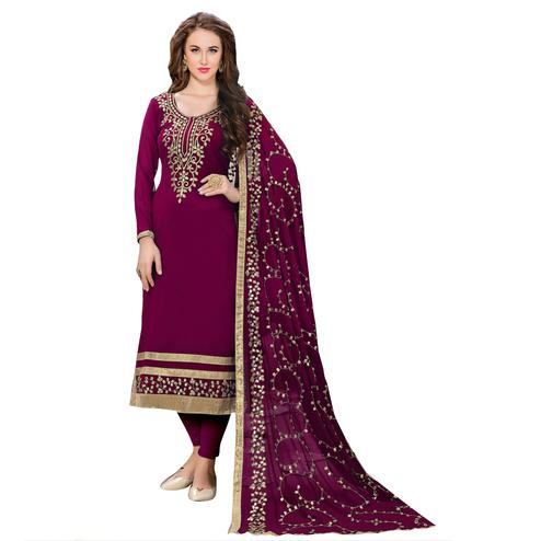 Excellent Magenta Colored Partywear Embroidered Georgette Suit