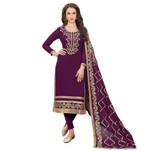 Beautiful violet Colored Partywear Embroidered Georgette Suit