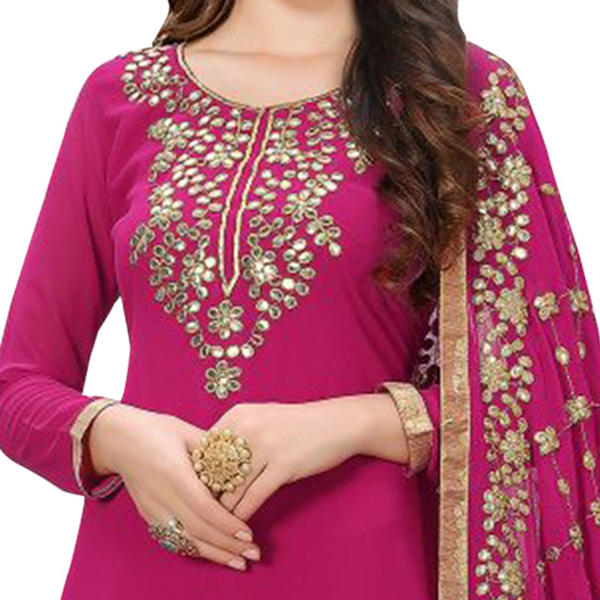 Pretty Pink Colored Partywear Embroidered Georgette Suit
