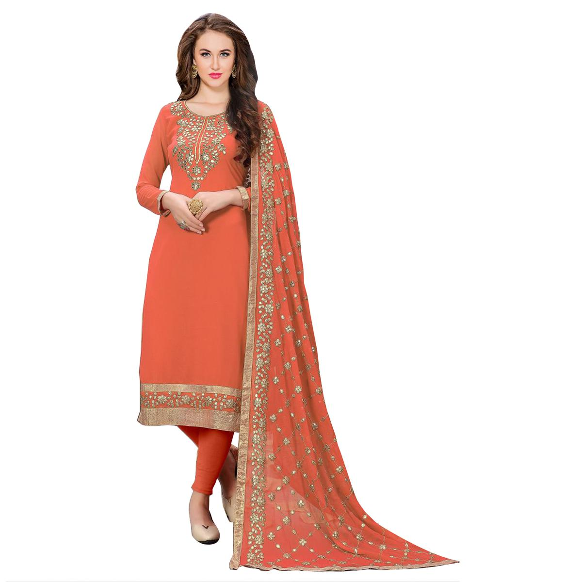 Blooming Orange Colored Partywear Embroidered Georgette Suit