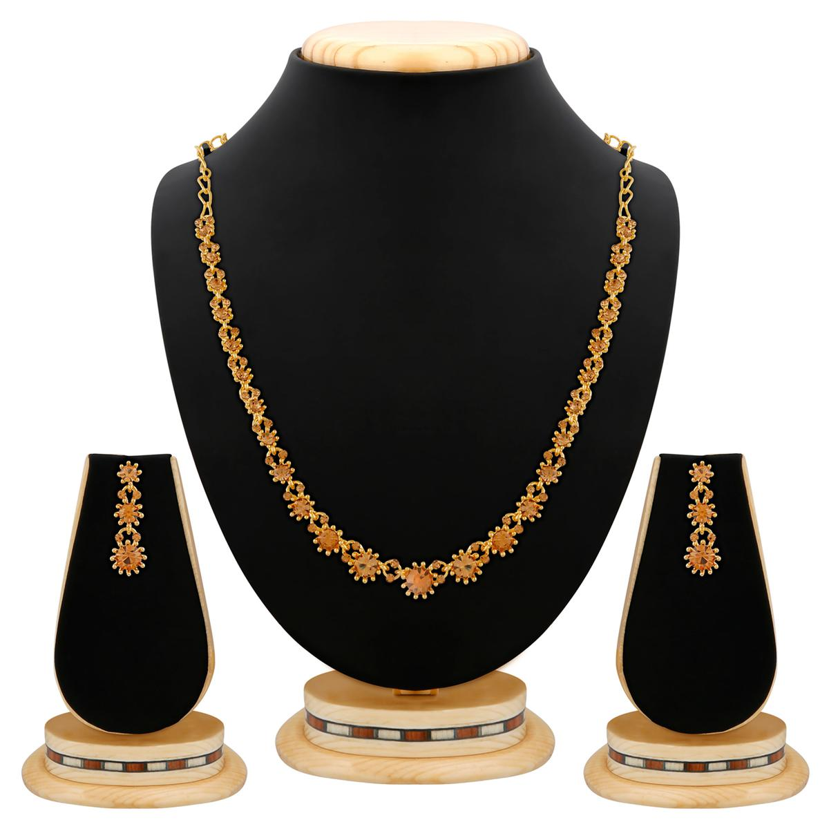 Gold Plated L.C.T Stone Necklace Set