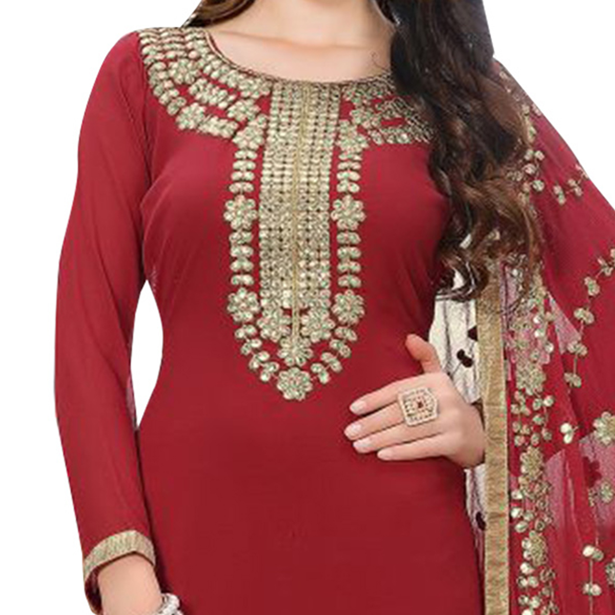 Traditional Maroon Colored Partywear Embroidered Georgette Suit