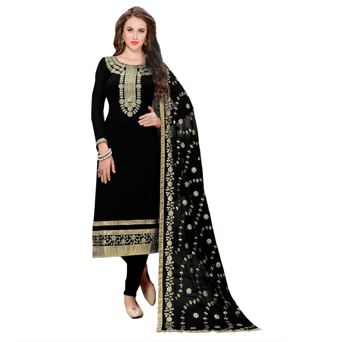 Classy Black Colored Partywear Embroidered Georgette Suit
