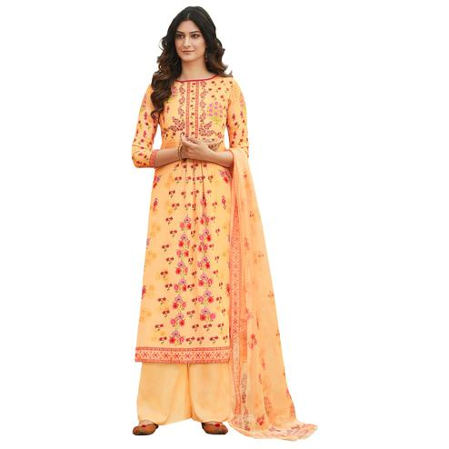 Light Orange Colored Digital Printed Pure Cotton Dress Material