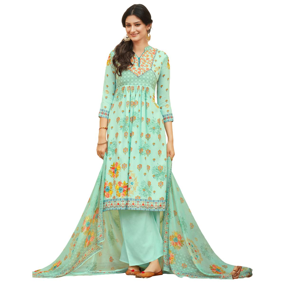 Light Blue Colored Digital Printed Pure Cotton Dress Material