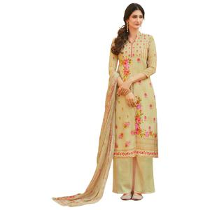 Cream Colored Digital Printed Pure Cotton Dress Material