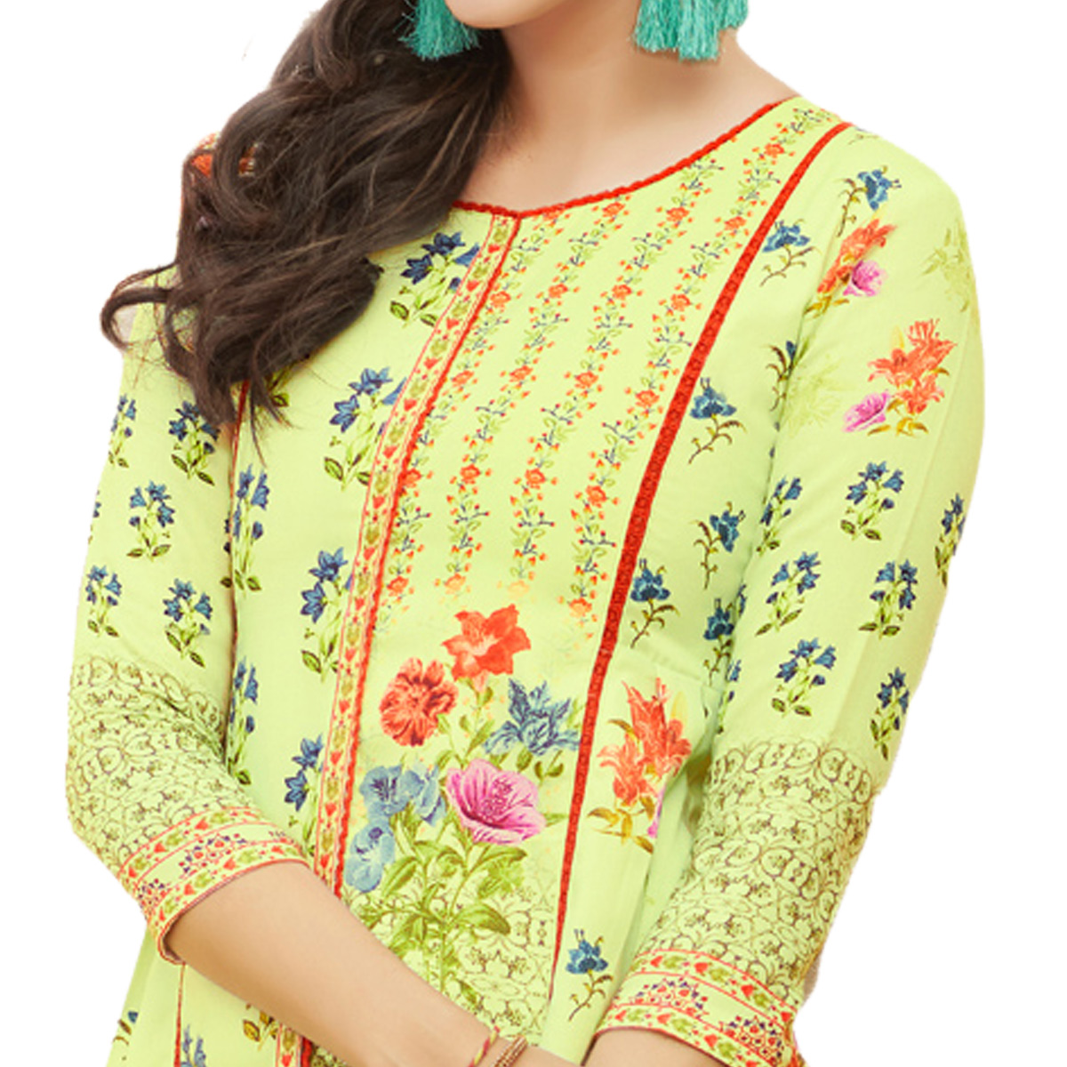 Light Green Colored Digital Printed Pure Cotton Dress Material