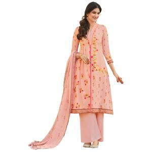 Light Pink Colored Digital Printed Pure Cotton Dress Material
