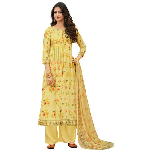 Light Yellow Colored Digital Printed Pure Cotton Dress Material