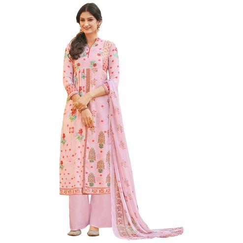 Pink Color Digital Printed Pure Cotton Dress Material