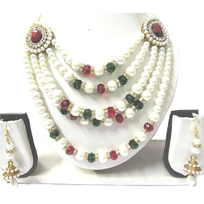 Pearl Multi Color 5 Line Necklace Set