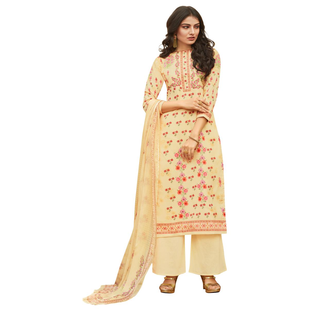 Beige Colored Digital Printed Pure Cotton Dress Material