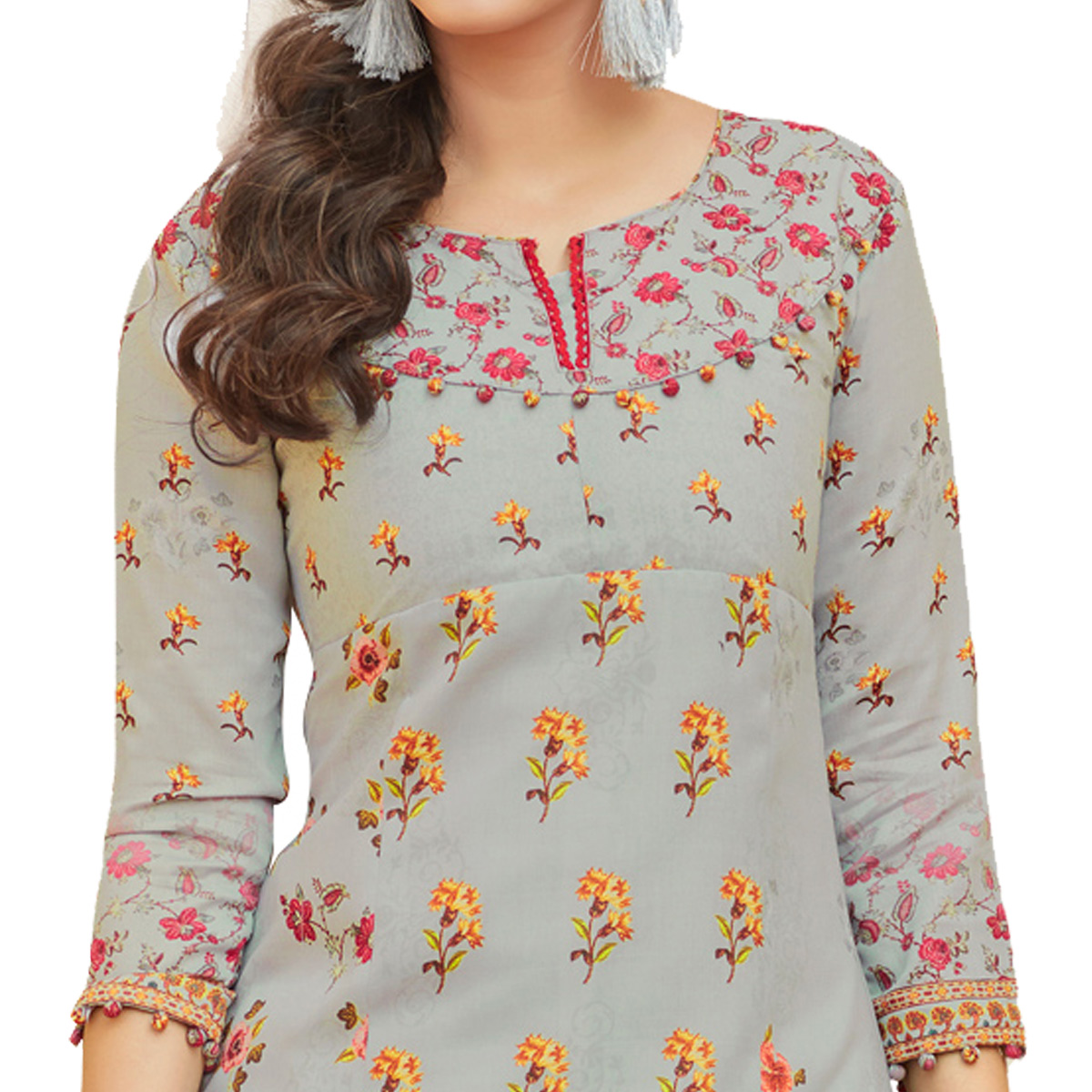 Grey Colored Digital Printed Pure Cotton Dress Material